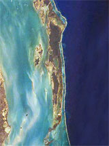 GtB Amergris Caye with the protective Reef running east of the Island