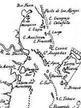 GtB Der Belize River auf der Cotilla Karte von 1753