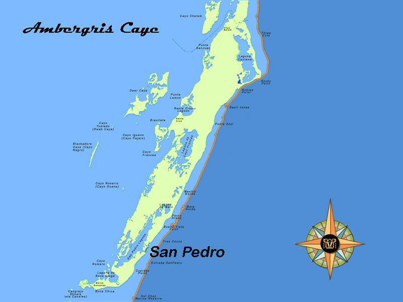 ambergris caye belize map Guide And Map Of Ambergris Caye In The North East Of Belize ambergris caye belize map