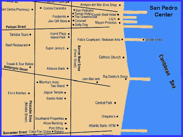 Guide And Map Of San Pedro In The East Belize: San Pedro Belize Hotel Map At Slyspyder.com