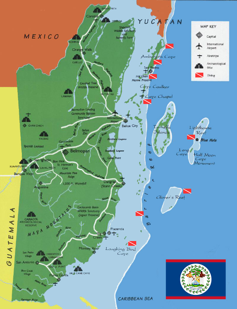 The Great Collection of Belize Maps – Belize Tourist Map