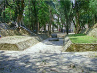 GtB The Ball Court at Lamanai  with its large marker