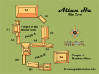 GtB Map of Belize Maya Site Altun                                 Ha, also called Water of the Rock