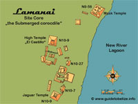 GtB Map of the Mayan Site Lamanai. Click to Enlarge
