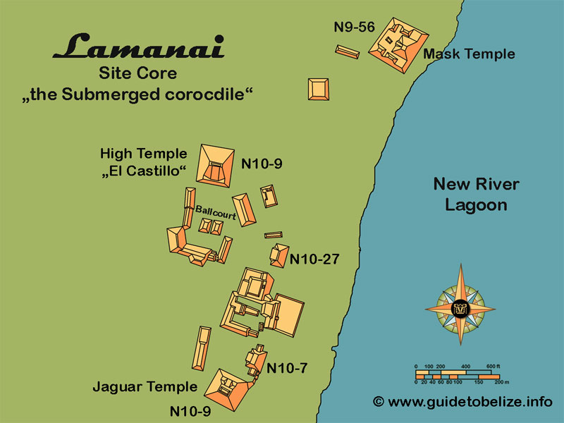 Lamanai Maya Site in Belize. The Submerged Crocodile