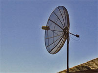 GtB 8 foot satellite                                 dish on a roof in Belize