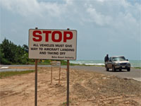GtB Stop sign at the Placencia airport in Belize