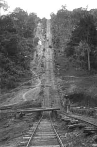 GtB Belize steppest rail tracks from the Vaca Falls Railway in Mountain Pine Ridge.