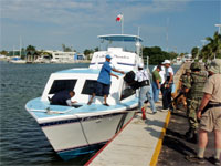 GtB Loading the Luggage in Chetumal in the Water Taxi to San Pedro in Belize.