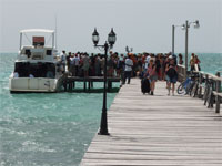 GtB Boarding the Water Taxi in Caye Caulker