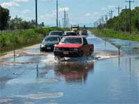 GtB Flooding on a Road at the Countryside in Belize